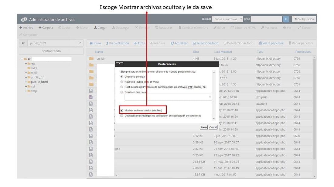 configurar para mostrar el archivo oculto htaccess