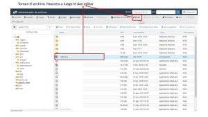 editar el archivo htaccess